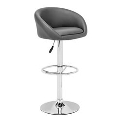 Zuo Modern - Zuo Orchestra Barstool in Gray - Orchestra Barstool Gray by Zuo Modern This stool is made with a chromed steel frame and leatherette wrapped seat and back Cushion ins with adjustable height and a swivel base. Barstool (1)