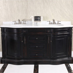 None - Natural Stone Top 68-inch Double Sink Vintage Style Bathroom Vanity - Add beauty to your bathroom decor with this magnificent 68-inch double sink vanity. Displaying a vintage design and solid Thailand oak,this one of a kind piece features a white marble top and metal knobs to complete the look.