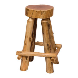 Fireside Lodge Furniture - Cedar Slab Stool w Outside Footrests in Lacqu - Choose Seat Height: 30 in. BarCedar Collection. Northern White Cedar logs are hand peeled to accentuate their natural character and beauty. Clear coat catalyzed lacquer finish for extra durability. 2-Year limited warranty. Counter: 19 in. Dia. x 24 in. H (20 lbs.). Bar: 19 in. Dia. x 30 in. H (25 lbs.)