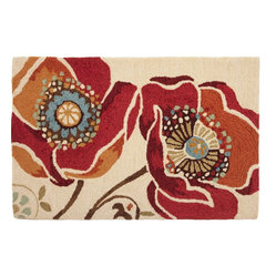 Homefires - Moroccan Red Rug - If you can't experience the exotic smells and vibrant energy of a faraway place, a wonderful home accent helps. The exotic hues of this wool-like, washable accent rug quench your desire for travel while adding a warm touch.