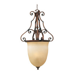 Maxim Lighting - Maxim 11766MCWC - Three Light Mocha Cloud Glass Weathered Copper Foyer Hall Pend - Category: Entry Foyer Pendant