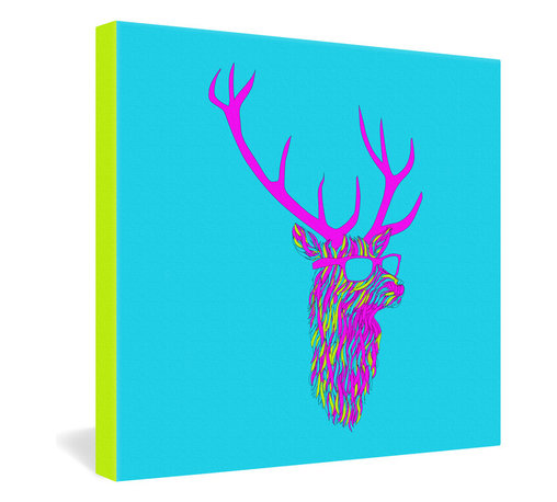 DENY Designs - Robert Farkas Party Deer Gallery Wrapped Canvas - Robert Farkas' ironic take on the traditional deer head trophy reinvents the rustic buck as a party animal in living fluorescent color, complete with retro shades and matching attitude. The digital design is dye-printed in vivid, fade-proof ink onto the fibers of a 1 1/2-inch-deep canvas with fluorescent border trim. Sly modern decor served with humor.