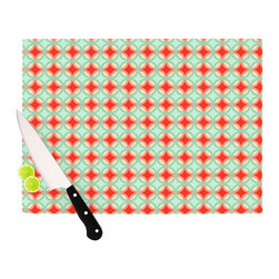 """Kess InHouse - Catherine McDonald """"Retro Circles"""" Cutting Board (11"""" x 7.5"""") - These sturdy tempered glass cutting boards will make everything you chop look like a Dutch painting. Perfect the art of cooking with your KESS InHouse unique art cutting board. Go for patterns or painted, either way this non-skid, dishwasher safe cutting board is perfect for preparing any artistic dinner or serving. Cut, chop, serve or frame, all of these unique cutting boards are gorgeous."""