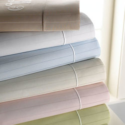 SFERRA - SFERRA Twin Striped Sheet Set, Mono. - Exclusively ours. We're excited to present our Marcus Collection by Sferra sheet sets at sale prices and with optional monogramming! Sheets are woven of soft, 400-thread-count pima cotton sateen and finished with an embroidered satin-stitch hem. E...