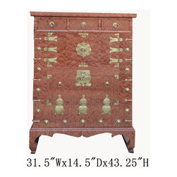 Korean Brass Hardware Deco Burl Wood Inlay End Table Side Cabinet - This is a Korean end table that has three drawers and two shelves. This piece is surrounded by many beautiful brass strips. It was made in China by a Korean-run factory. Especially, the front of cabinet is made of burl wood, and it looks gorgeous. You can use this piece as storage for small items.