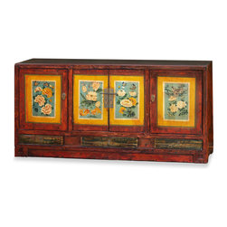 "China Furniture and Arts - Tibetan Floral Motif Cabinet - Exuberant and bold, the artwork on this cabinet displays the liveliness of Tibetan art. A definite conversation starter, the cheerful colors represent the personality of Tibetan people, who are passionate with life. The spacious center compartment measures 22.5""W x 13""D x 20.5""H. For additional storage space, the two side compartments each measure 17.5""w x14""D x20.5""H. The three lower drawers are perfect for storing small items with the center drawer and interior measuring 16.25""Wx 12.5""Dx 2""H, and both side drawers measuring 13""Wx12..5""Dx2""H. Perfect as a sideboard in the dining room or media cabinet in the living room. It is a one-of-a-kind item and will last for generations to admire. Fully assembled."