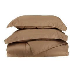 Microfiber Solid Taupe Full/Queen Duvet Cover Set - Explore the amazing feel of our Vanessa Collection Microfiber Duvets. Made with 100% microfiber and designed to resist wrinkles and pilling, they will stay like new through many machine wash cycles. Strong and durable, yet luxuriously soft, these duvets offer all the advantages of standard cotton duvets at less cost to you! Set includes One Duvet Cover 90x92 and Two Pillow-shams 20x26 each.