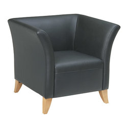 Office Star - OSP Furniture Lounge Seating SL1511 Black Leather Club Chair with Maple Finish - Black leather club chair with maple finish. Rated for 500 lbs. of distributed weight. Shipped assembled with legs unmounted.