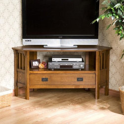 Upton Home - Upton Home Chenton Oak Corner Media Stand - This convenient oak corner TV stand is an ideal solution for any tight space. The carefully shaped exterior slides into a spare corner,while the included drawer offers room to pack away essentials.