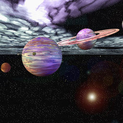 Murals Your Way - Our Solar System Vinyl Wall Decal Wall Art - Our solar system is depicted in this artistic Vinyl Wall Decal with each planet aligned, from Venus to Pluto