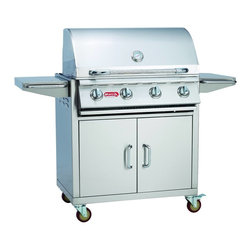 "Bull - Lonestar ""Select""  Cart  NG - The Lonestar Select cart is a 4-Burner Stainless Steel Gas Barbecue Grill. It has extra storage for a propane tank or other grilling"