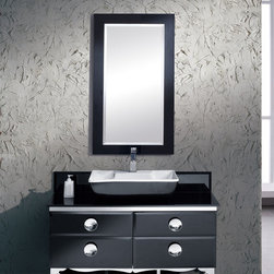 """Moselle 47 Modern Glass Bathroom Vanity With Mirror - The Moselle vanity is the epitome of luxury.  This high quality vanity has a steel frame construction with a tempered glass exterior.  The interior drawers are made from Ebony Macassar which gives it a classic, high end look.  Many faucet styles to choose from.Dimensions of Vanity:  47.25""""W x 18""""D x 34""""H. Dimensions of Mirror:  24.5""""W x 48.5""""H. Materials:  Steel Frame, Tempered Glass Countertop, Ceramic Sink, Ebony Macassar Veneer Drawers. Single Hole Faucet Mount (Faucet Shown In Picture May No Longer Be Available So Please Check Compatible Faucet List). P-trap, Faucet, Pop-Up Drain and Installation Hardware Included"""