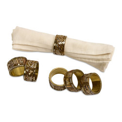 iMax - Omiska Napkin Rings, Set of 6 - Set of 6 gold toned, mirrored finish napkin rings that will bring a majestic since of style to your dining table.