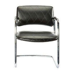 Used 1970s Steelcase Chrome Chair - Add comfort and style to your work space with this vintage Steelcase armchair. This chair has been upcycled by a skilled upholsterer in quilted black vinyl.  It's retro and new and cool all over!