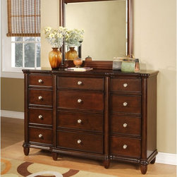Elements Fine Home Furnishing Inc. - Hamilton 12 Drawer Dresser - Warm Brown Cherry - ELET065 - Shop for Dressers from Hayneedle.com! Create the well-appointed bedroom with plenty of storage by adding the Hamilton 12 Drawer Dresser - Warm Brown Cherry. This dresser offers a dozen drawers for a variety of storage options. The top drawer is felt-lined to protect jewelry or delicates. The solid poplar construction beveled crown and luxurious cherry finish will keep this dresser in your family for generations. Complete the look with the optional matching mirror.About Elements Fine Home Furnishings Inc.Committed to bringing excellent home furnishings to the masses through affordable prices Elements marries exceptional design and exemplary craftsmanship to create affordable functional pieces. High-end materials and technique are supported by a six-point quality control inspection to ensure consistent reliability.Featuring collections tailored for the sophisticated yet casual customer their approach to design is focused on comfort strength and elegance. Elements uses only top grain aniline leather meaning only the most durable and best quality hides are utilized. Aniline leathers are those treated by a transparent dye through all its layers. The resulting finish is translucent letting all the natural imperfections shine through. A firm reliance on solid wood grain allows Elements Fine Home Furnishings Inc. to build products that will outlast several years of everyday use. Traditional styling details coupled with contemporary design helps Elements stand apart from the rest.