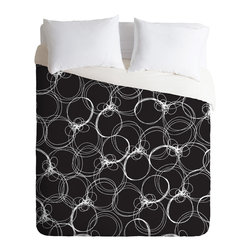 DENY Designs - Rachael Taylor Circles 1 Duvet Cover - Turn your basic, boring down comforter into the super stylish focal point of your bedroom. Our Luxe Duvet is made from a heavy-weight luxurious woven polyester with a 50% cotton/50% polyester cream bottom. It also includes a hidden zipper with interior corner ties to secure your comforter. it's comfy, fade-resistant, and custom printed for each and every customer.