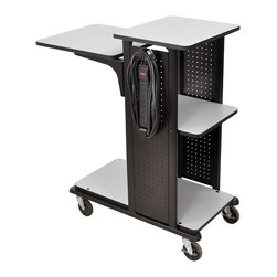 """Luxor - H Wilson Presentation Cart - WPS4HDE - H. Wilson Proudly introduces the WPS6 series multimedia workstation. This unit features extra large shelves designed for large document cameras and today's audio visual equipment. Features gray laminate work surfaces that are 3/4"""" thick. Top shelf measures 19 1/4"""" x 20 1/4"""". Adjustable middle shelf measures 13 3/4"""" x 20 1/4"""". Bottom measures 11 1/4"""" x 20 1/4"""". The unit includes four 4"""" silent roll, full swivel ball bearing heavy duty casters, two with locks."""