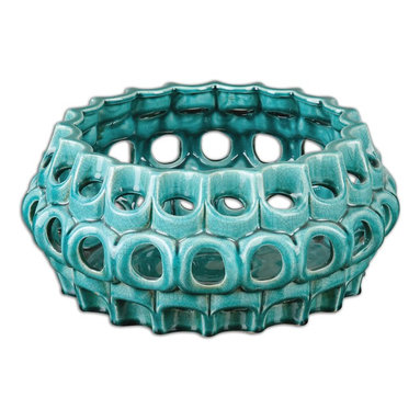 Uttermost - Idola Ceramic Bowl - Ornate ceramic bowl pierced and finished in crackled, teal blue.