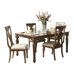 Liberty Furniture - Liberty Furniture Rustic Tradition 5 Piece 84x42 Dining Room Set in Cherry, Medi - Todays traditional has a more casual feel and this is mostly achieved through well, worn, rustic finishes. Rustic traditions is the heirloom quality Louis Philippe design with a burnished, rasped, rustic cherry finish. Cases feature chamfered pilasters, bun feet, drop ring and key hardware in an antique brass. Dining features two table options that work for smaller or larger scale areas. Beautiful shaped splat back chairs featured upholstered seats in a flax chenille. What's included: Dining Table (1), Side Chair (4).