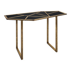 Mirror Mosaic Console Table - Art Deco inspirations make the top of this table a gorgeous mosaic of dark mirrored panels and antique gold bars. Its open-legged frame gives it an airy feel that works well even in smaller spaces.