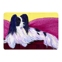 Caroline's Treasures - Papillon Kitchen or Bath Mat 20 x 30 - Kitchen or Bath Comfort Floor Mat This mat is 20 inch by 30 inch. Comfort Mat / Carpet / Rug that is Made and Printed in the USA. A foam cushion is attached to the bottom of the mat for comfort when standing. The mat has been permanently dyed for moderate traffic. Durable and fade resistant. The back of the mat is rubber backed to keep the mat from slipping on a smooth floor. Use pressure and water from garden hose or power washer to clean the mat. Vacuuming only with the hard wood floor setting, as to not pull up the knap of the felt. Avoid soap or cleaner that produces suds when cleaning. It will be difficult to get the suds out of the mat.