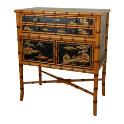 Oriental Furniture - Ching Two Drawer Cabinet - This imported cabinet was built in a family owned artisans' collective in Guangdong.  The tops, front, and sides feature hand-painted landscape designs finished in a rich clear lacquer.  The black background of these panels contrasts beautifully with the carved, bamboo style frame.  Add this elegant, distinctive piece of fine furniture to your home, and bring a timeless element of the Orient with it.