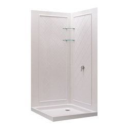 DreamLine - DreamLine QWALL-4 Shower Enclosure Backwall Kit - Complete your shower enclosure project with an easy-to-install shower backwall panel from DreamLine. The shower enclosure backwall panels are crafted from durable and attractive Acrylic/ABS material. Panels can be trimmed up to 10 inches to perfectly fit your shower space. QWALL panels are made to compliment some of our most popular shower enclosures and shower bases. The panels create a beautiful backdrop for your shower enclosure with a tasteful tile pattern. Streamline your bathroom renovation with a QWALL shower enclosure backwalls panel. Product Type: Shower Backwall Kit,  Color: White,  Assembly required,  Designed to be installed over existing finished surface (not directly against studs),  Includes 2 glass corner shelves,  Attractive tile pattern,  Unique water tight connection of panels ,  Durable acrylic/ABS construction,  Trim-to-Size design for shower enclosures w/ wall dimensions 30 in. to 40 in. from corner. Must be trimmed during installation Product Warranty:,  Limited 1 (one) year manufacturer warranty