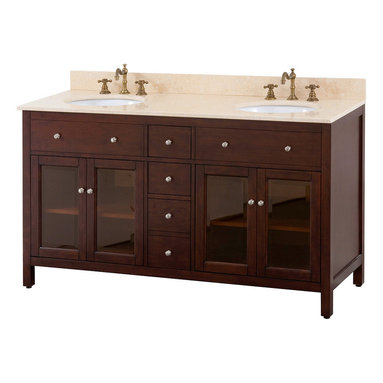 Avanity - Lexington 60 in. Double Vanity Only - The average person spends more than a year and a half of his/her lifetime in the bathroom — so shouldn't yours be exquisite? Towards that end, this beautiful double vanity, crafted of solid poplar, tinted glass doors and brushed nickel hardware — it's both stately and state-of-the art.