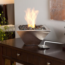 Anywhere Fireplace - Anywhere Fireplace Empire Table Top Indoor / Outdoor Fireplace Multicolor - AW90 - Shop for Fire Pits and Fireplaces from Hayneedle.com! Enjoy the warmth and cozy ambiance that the Anywhere Fireplace Empire Table Top Indoor / Outdoor Fireplace provides your home - inside or out. Smokeless odorless and soot- and ash-free this ventless fireplace warms rooms or areas up to 375 square feet. It can be used on the ground on a tabletop or other sturdy surfacess. No chimney flue gas or electrical connection is needed. It uses clean-burning non-toxic and non-polluting gel fuel cans to produce beautiful dancing flames. Simply use a long match or wand lighter to light the fuel. Just tamp the flame out when you're done. Portable economical and easy to use this pourable gel fuel fire place has a compact inverted-pyramid shape that allows it to fit neatly on tabletops counters ledges and more. It's constructed of high-quality materials including durable stainless steel. The top is slightly recessed to create room for polished stones (included) that add a decorative touch around the dancing flames. With its sophisticated contemporary design this portable fireplace blends beautifully with a variety of spaces from patios dining rooms and dens to living rooms balconies and bedrooms. About New Energy DistributingNew Energy Distributing represents the best available products including grills fireplaces wood stoves and other hearth products. Their highly-trained and customer-friendly employees are experts in matching your needs to your decor. Representing such quality brands as Vermont Castings Empire Monessen and Napoleon they are the leader in fine hearth products.