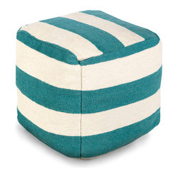 Teal Stripe Pouf - Wide stripes recall the nostalgic decorative conventions of seaside homes as well as the appeal of the eclectic vintage d�cor scheme.  The Teal Stripe Pouf, dyed in a warm light ivory and a muted turquoise shade, is perfect for pairing with ticking patterns or plaids, but also makes a striking companion to the strong fields of color in many transitional rooms.