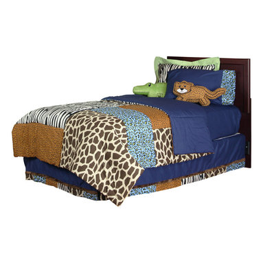 "Jazzie Jungle Boy - Twin Set (6pc) - This twin 6pc set includes:  twin comforter, twin bed skirt, twin sheet set (1 flat, 1 fitted and 1 standard pillowcase) and (1) standard flanged sham.  Comforter is reversible -- giving room a completely different look and feel!  Comforter front is a patchwork design using all the collections fun animal fabrics -- ""Cheetah Blue"", ""Giraffe"", ""Cheetah"" and ""Zebra"".  Opposite side designed in solid navy throughout.   Flat and fitted sheet are designed in the collections solid navy cotton fabric.  Pillow case is designed using solid navy and trimmed with ""Cheetah Blue"". Both cotton print fabrics.  Bed skirt is designed with navy cotton fabric and trimmed in all the ""animal"" prints available in this collection.  Jazzie Jungle standard flanged sham is designed using our ""Zebra"" fabric and framed in the collections green.  Both cotton print fabrics.   SAVE WHEN YOU BUY AS A SET!"