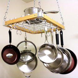 None - Cooks Standard Ceiling-Mount Wooden Pot Rack - A hanging pot rack is perfect over that kitchen island.