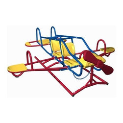 Lifetime - Ace Flyer Airplane Dual Action Teeter Totter - Includes double-seat cockpit, double teeter totters, spinning wheel and propeller. Materials made of UV-protected double-walled high-density polyethylene (HDPE) plastic and powder-coated steel . Free standing with adjustable height. 7 children seating capacity. Assembly required. 1-Year limited factory warranty. Unit dimensions: 96 in. L x 96 in. W x 48 in. H. Required safety zone dimensions:  252 in. L x 252 in. W. Maximum weight capacity: 600 lbs.The Ace Flyer Airplane Teeter Totter allows children to rock from side to side and up and down. Spinning wheel turns propeller so your aspiring young pilots feel like they�۪re really in control. Powder-coated steel and UV-protected plastic construction reduces heat retention so children can seesaw safely and comfortably. The Ace Flyer not only looks great, it passes all playground safety standards. Make your backyard the most popular one in the neighborhood with this unique backyard teeter totter.