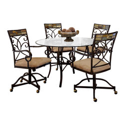 Hillsdale Furniture - Mosaic 5 Pc. Dinette Set w Four Castered Chai - This 5 piece dining room set with glass table top and four chairs is stylishly contemporary. Wonderfully designed in an elaborate pattern this dinette set is truly a work of art. High-quality workmanship and understated elegance make this piece a tasteful addition to any decor. Mosaic backing, arm rests, and wheels give it a luxurious look and feel. Each chair is set on a group of four rollers for easy movement, and the table itself features a mosaic circle which supports the polished glass surface. * For residential use. Includes Table & 4 Castered Chairs.. Table: 30 in H x 48 in Diameter. Chairs: 18.5 in W x 25.5 in. D x 40 in. H. This 5 piece dining room set with glass table top and four chairs is stylishly contemporary.. Wonderfully designed in an elaborate pattern this dinette set is truly a work of art.. High-quality workmanship and understated elegance make this piece a tasteful addition to any decor.. Mosaic backing, arm rests, and wheels give it a luxurious look and feel.