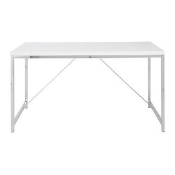 Euro Style - Euro Style Gilbert Desk 27535 - Gilbert designs office furniture with excellent bones. Strength and functionality come together in a line of basic office pieces that are hard-working, long lasting, and no nonsense classics. Seriously. The steel frame on this desk is like a rock. And supporting cross ties make it even stronger. Choose white or black high gloss top and you've got a desk worth reflecting upon.