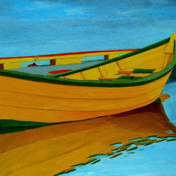 Yellow Dory Artwork - A yellow fishing Dory typical of the vessels used by fisherman up and down the coasts of Canada,Newfoundland and America though different names have been attached to these sturdy boats.