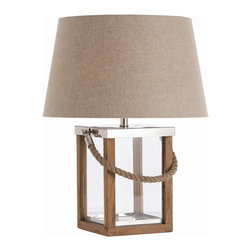 Arteriors - Tate Lamp - There's a jaunty, seafaring feel to this lamp, making it an ideal addition to your favorite casual setting. An unusual combo of components — polished nickel, natural wood and rope detailing — works refreshingly well together.