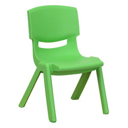 Flash Furniture - Flash Furniture Green Plastic Stackable School Chair with 10.5 Inch Seat Height - This chair is the perfect size for preschool to kindergarten sized children. Having young children sit in a chair that is designed for them is important in developing proper sitting habits that will last them a lifetime. Not only are these chairs designed properly, but they are lightweight so kids can feel independent by moving the chairs themselves. [YU-YCX-003-GREEN-GG]