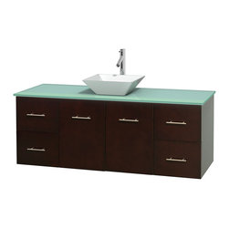 Wyndham Collection - Centra Bathroom Vanity in Espresso,GN Glass Top,Pyra White Sink,No Mir - Simplicity and elegance combine in the perfect lines of the Centra vanity by the Wyndham Collection. If cutting-edge contemporary design is your style then the Centra vanity is for you - modern, chic and built to last a lifetime. Available with green glass, pure white man-made stone, ivory marble or white carrera marble counters, with stunning vessel or undermount sink(s) and matching mirror(s). Featuring soft close door hinges, drawer glides, and meticulously finished with brushed chrome hardware. The attention to detail on this beautiful vanity is second to none.
