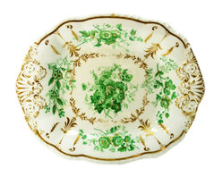 None visible - Consigned Serving Bowl or Platter Molded&Gilded Porcelain w/ Green Floral Decor - A spectacular serving bowl or platter in molded porcelain with printed floral decoration in green with painted gold design, antique English late Georgian to early Victorian period, circa 1835. Ideal to serve at a fancy dinner table and a superb example of period porcelain.This is an antique One of a Kind item. Some wear and imperfections are to be expected, as described.