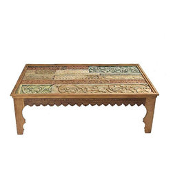 Antique Carved Coffee Table With Glass Top - $1,415 on Chairish.com -