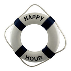 Happy Hour Life Ring Nautical Wall Decor - Ahoy, there! This life ring advertises what is considered by some a life saver- `Happy Hour!` It has a styrofoam core, white cotton covering and rope, and bold navy blue accents. It measures 19 inches in diameter, 4 inches wide, 3 inches deep and is an awesome accent to nautical themed bar decor. NOTE: This item is purely fun and decorative, and is not intended for use as a life-saving floatation device.