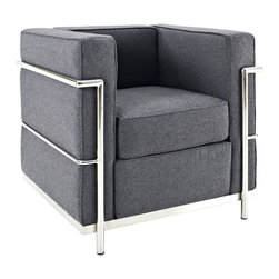 Modway Furniture - Modway Charles Petite Wool Armchair in Dark Gray - Petite Wool Armchair in Dark Gray belongs to Charles Collection by Modway Urban life has always a quandary for designers. While the torrent of external stimuli surrounds, the designer is vested with the task of introducing calm to the scene. From out of the surging wave of progress, the most talented can fashion a forcefield of tranquility. Perhaps the most telling aspect of the Charles series is how it painted the future world of progress. The coming technological era, like the externalized tubular steel frame, was intended to support and assist human endeavor. While the aesthetic rationalism of the padded leather seats foretold a period that would try to make sense of this growth. The result is an iconic sofa series that became the first to develop a new plan for modern living. If previous generations were interested in leaving the countryside for the cities, today it is very much the opposite. If given the choice, the younger generations would rather live freely while firmly seated in the clamorous heart of urbanism. The Charles series is the preferred choice for reception areas, living rooms, hotels, resorts, restaurants and other lounge spaces. Set Includes: One - Le Corbusier LC2 Armchair in Woolen Mix Armchair (1)