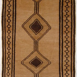 Old Gabbeh Rug - This is an authentic tribal Gabbeh rug from the rugged Caucasus mountains of Iran. Constructed of natural un-dyed lambs wool this is a real collectible work of textile art.