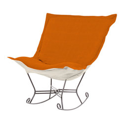 Howard Elliott - Sterling Canyon Titanium Frame Scroll Puff Rocker - The Sterling Puff Chair is a simple yet sophisticated piece. The fabric features a hopsack look with a crisp hand and rich color. Sterling Canyon, a soothing orange with a linen-like texture. 40 in. W x 37 in. D x 40 in. H