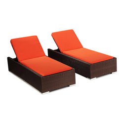 "Kardiel - Modify-It Patio Sunbed Chaise Lounge, Hanalei 2pc Set Espresso Wicker/Orange - The Hanalei 2-piece set by Modify-It. The design origins are Clean European. The elements of comfort are inspired by the relaxed style of the Hawaiian Islands. The Aloha series comes in many configurations, but all feature a minimalist frame and thick, ample modern cube cushions. The back cushions are consistent in shape, not tapered in to create the lean back angle. Rather the frame itself is specifically ""lean tapered"" allowing for a full cushion, thus a more comfortable lounging experience. The cushion stitch style utilizes smooth and clean hand tailoring, without extruding edge piping. The generously proportioned frame is hand-woven of colorfast, PE Resin wicker. The fabric is Season-Smart 100% Outdoor Polyester and resists mildew, fading and staining. The ability to modify configurations may tempt you to move the pieces around a lot. No worries, Modify-It is manufactured with a strong but lightweight, rust proof Aluminum frame for easy handling."