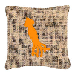 Caroline's Treasures - Squid Burlap and Orange Fabric Decorative Pillow Bb1096 - Indoor or Outdoor Pillow from heavyweight Canvas. Has the feel of Sunbrella Fabric. 18 inch x 18 inch 100% Polyester Fabric pillow Sham with pillow form. This pillow is made from our new canvas type fabric can be used Indoor or outdoor. Fade resistant, stain resistant and Machine washable..