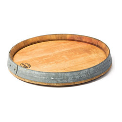 """Master Garden Products - Wine Barrel Head Lazy Susan Turn Table, 24""""W x 3""""H - Our French oak wood wine barrel lazy head Susan is kiln dried, sanded, and layered with a coat of lacquer to create this beautiful turn table top.  Rotates freely for easy serving."""