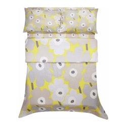 Marimekko Unikko Grey / Yellow Duvet Cover - This classic print from Marimekko pops even more in vibrant yellow and shades of gray.