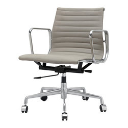 Meelano - M341 Eames Style Aluminum Office Chair In Grey Italian Leather - Swivel, roll and lift up and down as you please. You're the boss of the office and the world. Fabricated with fine leather in your choice of colors, you'll look fabulous in this executive, management office chair.